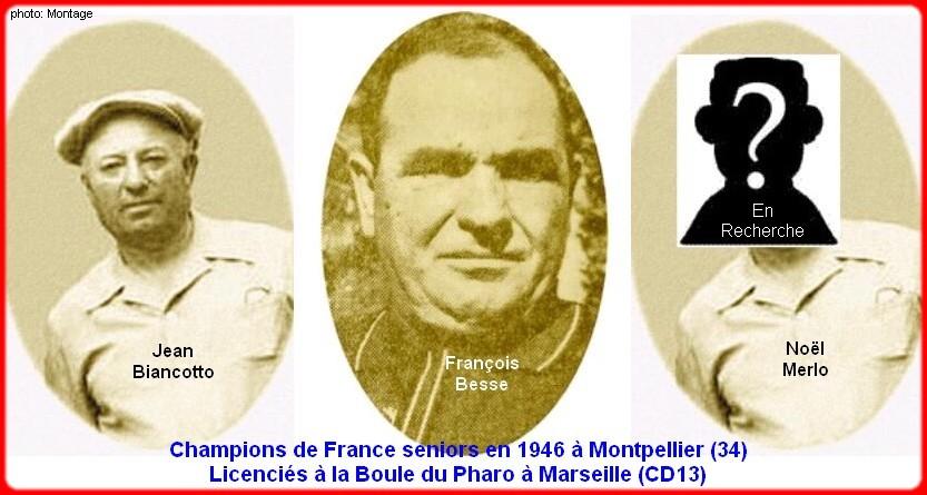 champions de France triplettes seniors pétanque 1946
