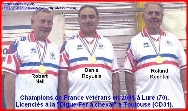 Champions de France pétanque triplettes vétérans en 2001