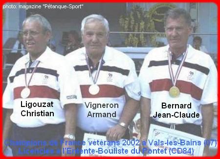 Champions de France pétanque vétérans triplettes en 2002