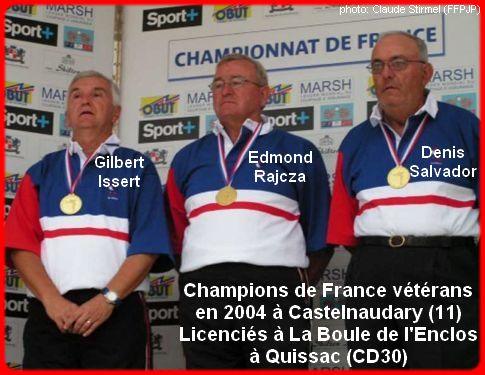Champions de France pétanque vétérans triplettes en 2004