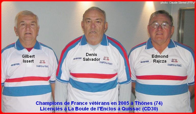 Champions de France pétanque triplettes vétérans en 2005
