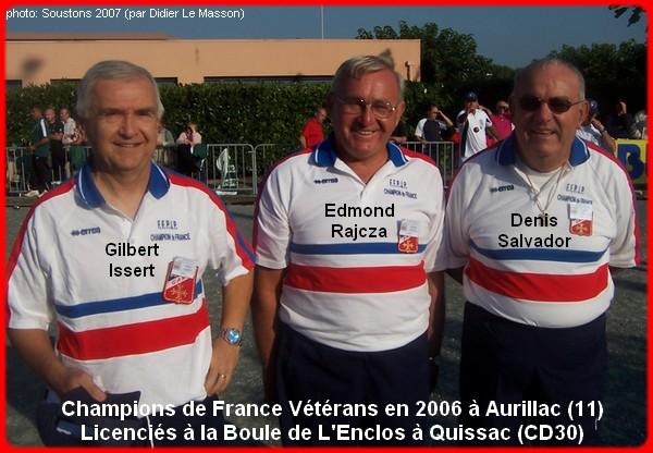 Champions de France pétanque vétérans triplettes en 2006