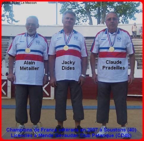 Champions de France pétanque vétérans triplettes en 2007