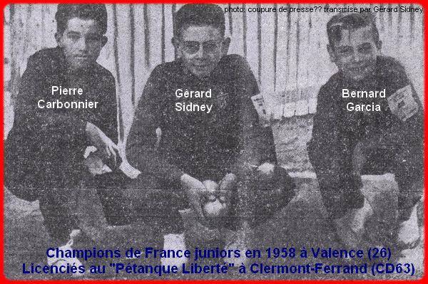 Champions de France pétanque juniors triplettes en 1958