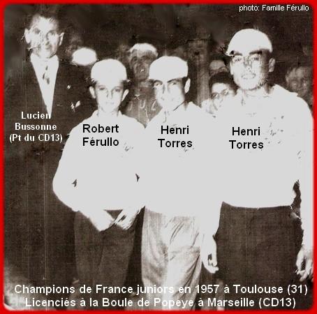Champions de France pétanque triplettes juniors en 1957
