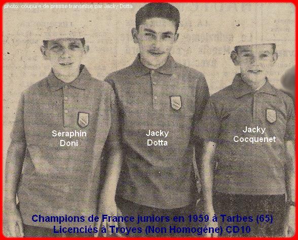 Champions de France pétanque juniors triplettes en 1959