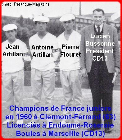Champions de France triplettes juniors pétanque en 1960