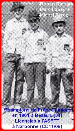 Champions de France pétanque juniors triplettes en 1961