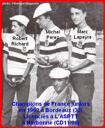 Champions de France pétanque juniors triplettes en 1962