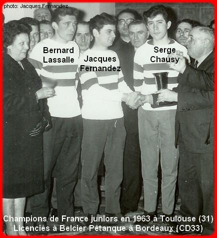 Champions de France pétanque juniors en 1963