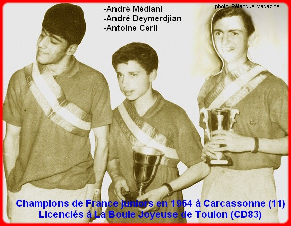 Champions de France pétanque juniors triplettes en 1964