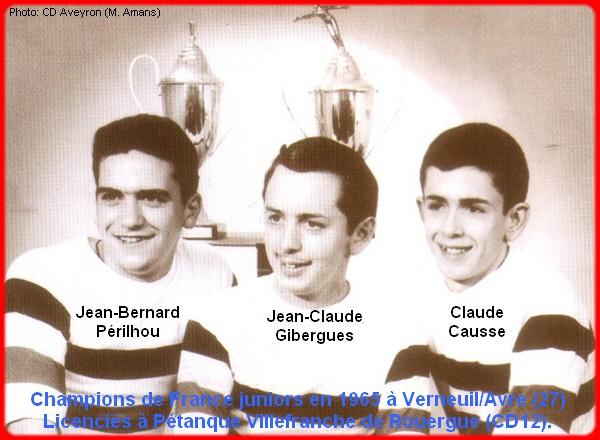 Champions de France pétanque triplettes juniors en 1965