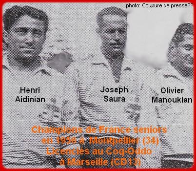 les champions de France pétanque seniors triplettes 1ère catg 1956