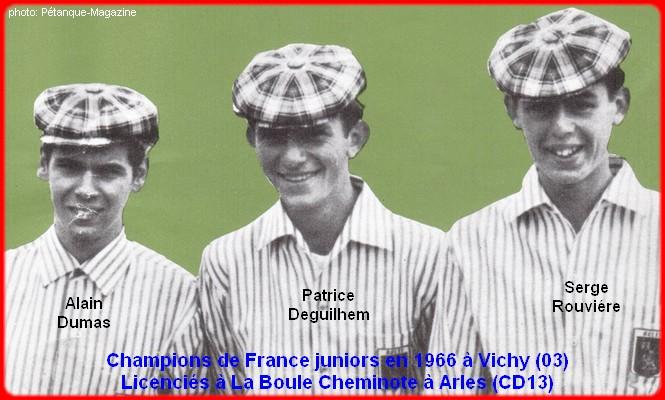 Champions de France pétanque juniors triplettes en 1966