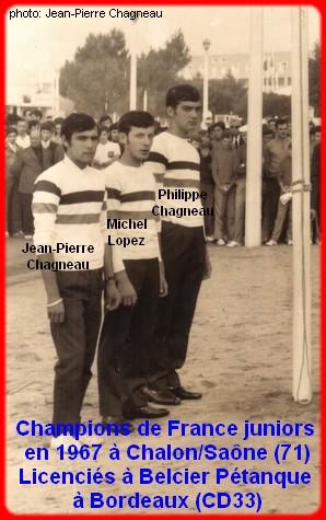 Champions de France pétanque juniors triplettes en 1967