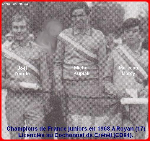 Champions de France pétanque juniors triplettes en 1968