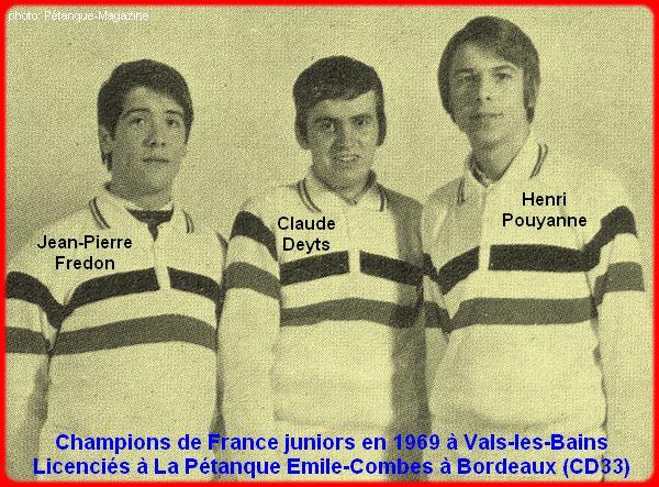 Champions de France pétanque juniors triplettes en 1969