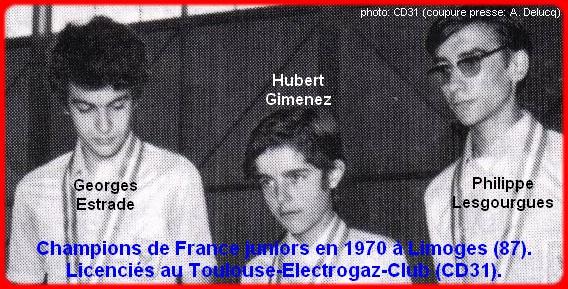 Champions de France pétanque juniors triplettes en 1970
