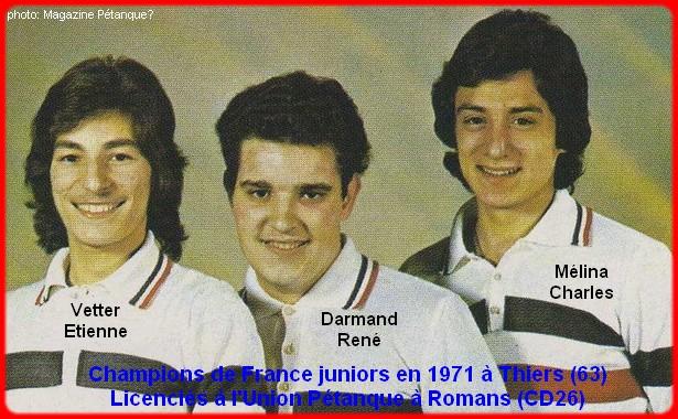Champions de France pétanque juniors triplettes en 1971