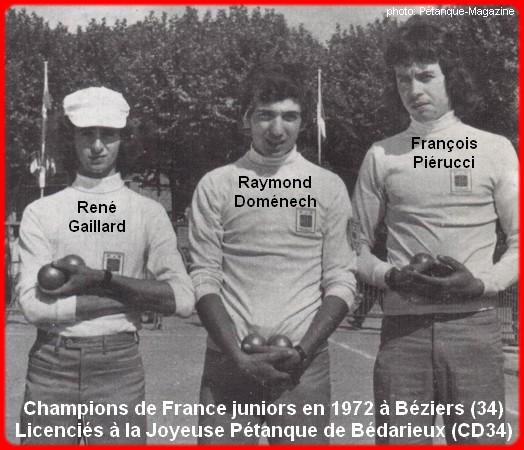 Champions de France pétanque juniors triplettes en 1972