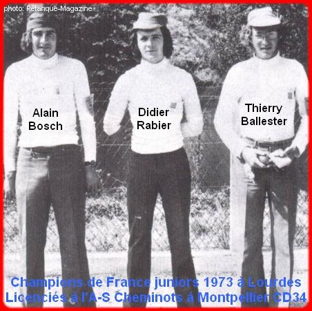 Champions de France pétanque juniors triplettes en 1973