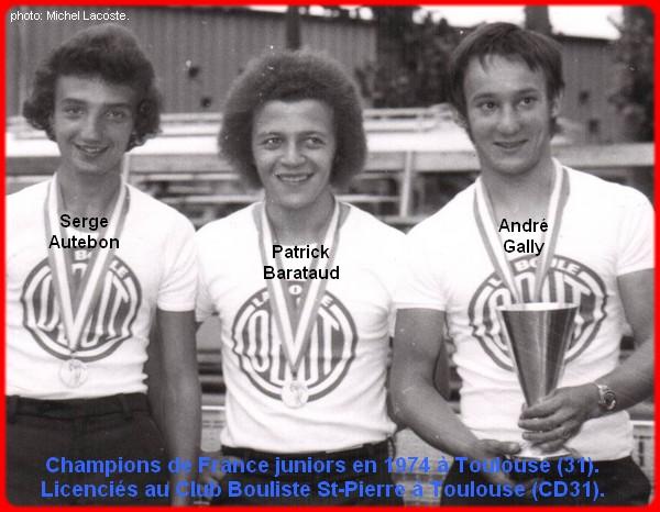 Champions de France pétanque juniors triplettes en 1974