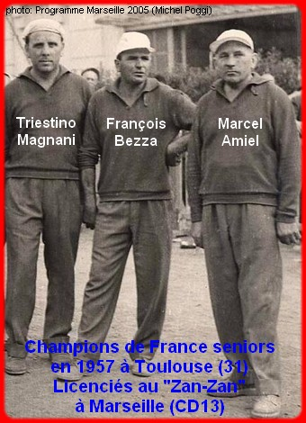 les champions de France pétanque seniors triplettes 1ère catg 1957