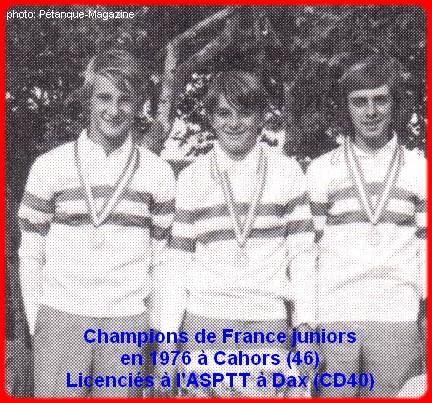 Champions de France pétanque juniors triplettes en 1976