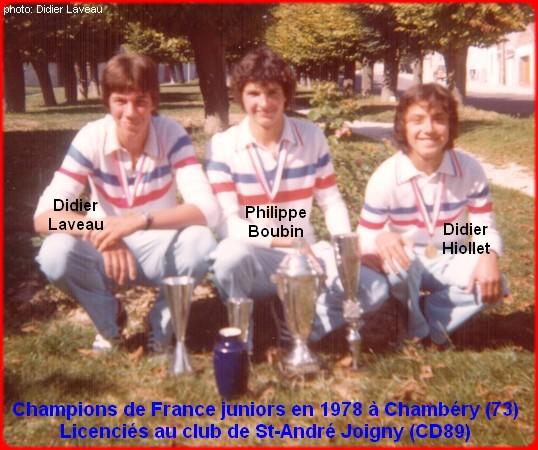 Champions de France pétanque juniors triplettes en 1978