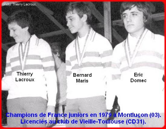 Champions de France pétanque triplettes juniors en 1979