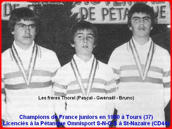 Champions de France pétanque juniors triplettes en 1980