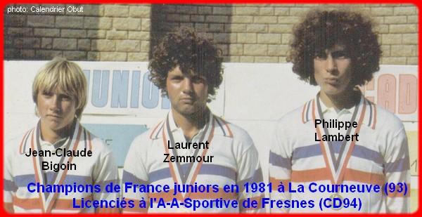 Champions de France pétanque triplettes juniors en 1981
