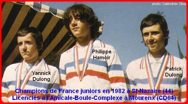 Champions de France pétanque triplettes juniors en 1982