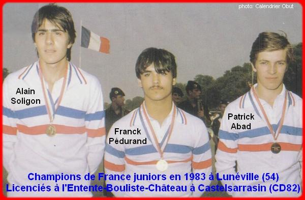 Champions de France pétanque triplettes juniors en 1983