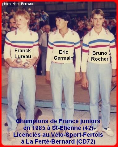 Champions de France pétanque triplettes juniors en 1985