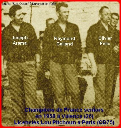 les champions de France pétanque seniors triplettes 1ère catg 1958