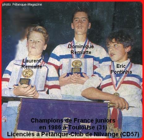 Champions de France pétanque triplettes juniors en 1986