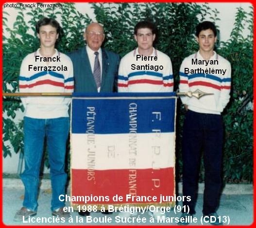 Champions de France pétanque triplettes juniors en 1988