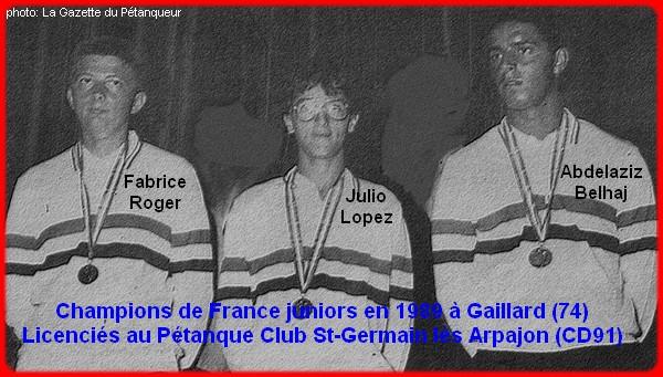 Cahmpions de France pétanque triplettes juniors 1989