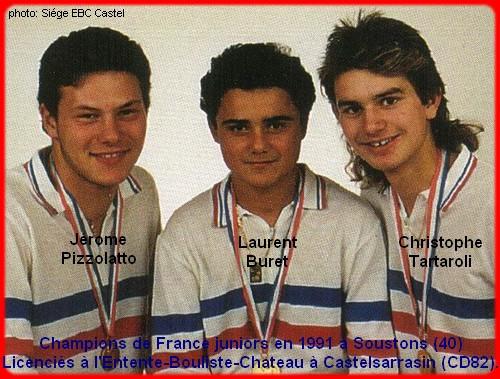 Champions de France pétanque juniors triplettes 1991