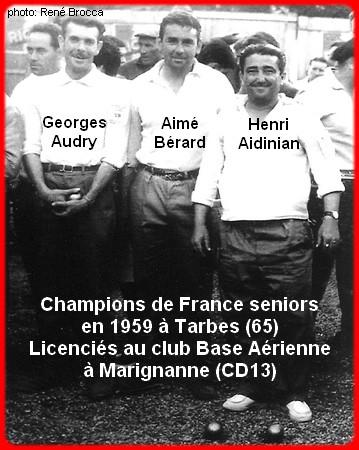 les champions de France pétanque seniors triplettes 1ère catg 1959