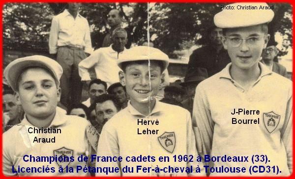 Champions de France pétanque cadets triplettes en 1962