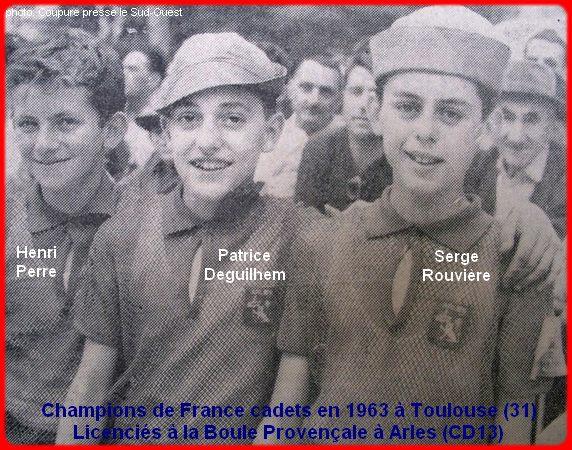 Champions de France pétanque cadets triplettes en 1963