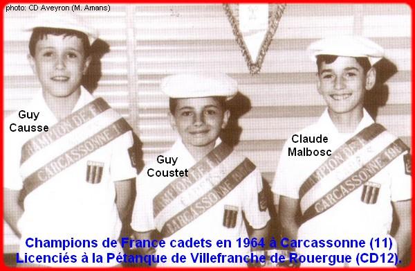 Champions de France pétanque triplettes cadets en 1964