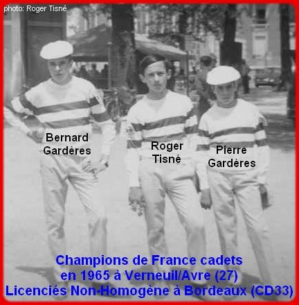 Champions de France pétanque triplettes cadets en 1965