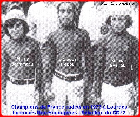 Champions de France pétanque triplettes cadets en 1973