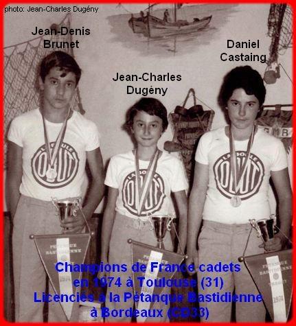 Champions de France pétanque triplettes cadets en 1974