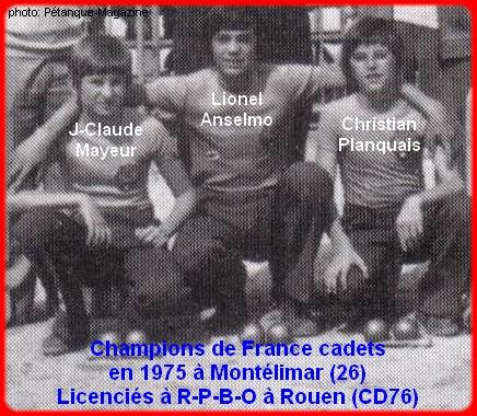 Champions de France pétanque triplettes cadets en 1975