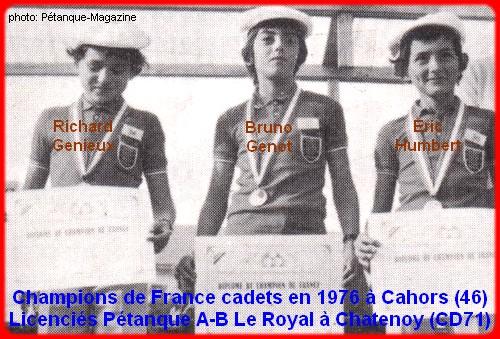 Champions de France pétanque cadets triplettes en 1976