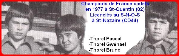 Champions de France pétanque triplettes cadets en 1977